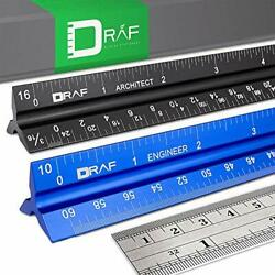 Draf 12 Inch Architectural And Engineering Imperial Scale Ruler Set - Laser-e...