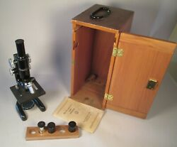 Vintage Bausch And Lomb Microscope W/ 2 Eyepieces + 2 Objectives + Case + Booklet