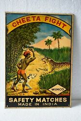 Vintage Cheeta Fight Hunting Wimco Safety Matches Advertising Tin Sign Rare Ad2