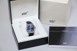 1858 113702 Manual Winding Small Second Ss Leather Blue 44mm 80.7g
