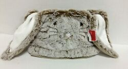 New Pottery Barn Kids Taupe Furry Bunny Easter Basket Liner Rabbit Cover Small