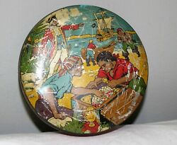 Vintage Retro Pirate Nautical Round Metal Tin Can Container Rare Find