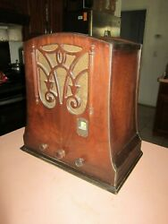Kennedy Deco Tombstone Antique Radio May Not Be Fully Functional Parts