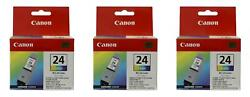 3x Canon Bci-24 Tri-color Ink Cartridge 6882a003 Genuine New Sealed