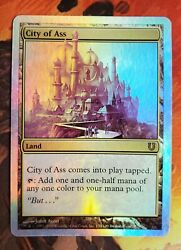 Mtg Foil City Of Ass Unhinged Ex+ Condition John Avon + Full Foil Ass Collection