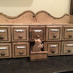 Antique Primitive Painted Spice Cabinet Porcelain Labeled Drawers French