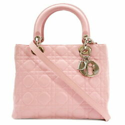 Christian Dior 2way Bag Lady Canage Pink Silver