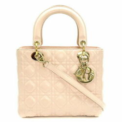 Christian Dior 2way Bag Lady Canage Pink Baby Light Tote Shoulder