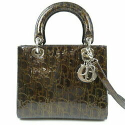 Christian Dior Lady Trotter 2way Handbag Patent Leather Brown