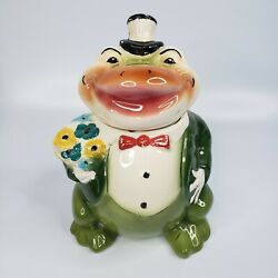 Vintage 50and039s Starnes Frog Cookie Jar Froggie Goes A Courtin Frog Tuxedo Frog 11