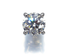 Auth And Co Diamond Earring 0.45ct Solitaire One-side Pt950 18k White Gold