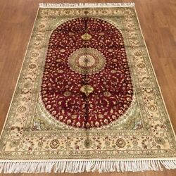 4'x6' Handknotted Silk Carpet Indoor Medallion Home Decor Area Rug Wy373c
