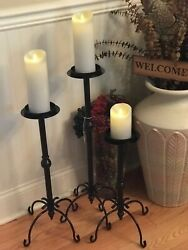 WROUGHT IRON PILLAR Floor CANDLE HOLDERS PRE OWNED