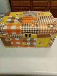 Large Vintage Mod Colorful Padded Sewing Basket With Insert And Pocket.