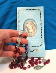 The Servite Rosary With Booklet Silver Purple Plastic Stoned Preowned