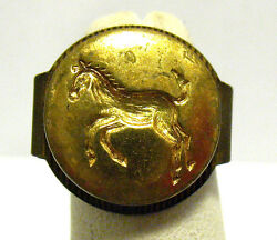 Gold Toned Horse Ring Prize Gumball Adjustable Band Vintage Syboll