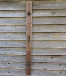 Antique 1800s Disston 48 Wood Double Brass Bubble Level And Plumb Bob