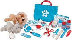 Melissa And Doug Pet Vet Set Examine And Treat 24 Pieces With Plush Dog And Cat