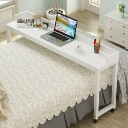 Overbed Table With Wheels Tribesigns 70.8l Queen Size Mobile Desk W/ Metal Legs