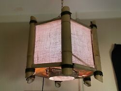 Orchids Of Hawaii Tiki Light Swag Bamboo Chandelier Hanging Ceiling Lamp Vtg 2