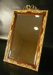 Antique French Table Mirror Wooden With Bronze Frame.