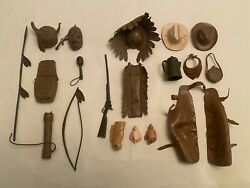 Marx Johnny West And Chief Cherokee Action Figure Assorted Accessories Lot