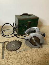 Vintage Porter Cable Guild Circular Saw Model A-6 With Case + Extra Blades Works