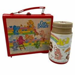 Vtg 1980's Aladdin Care Bears Plastic Lunch Box With Thermo - No Lid Included
