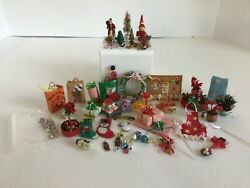 Vintage Dollhouse Miniature 112 Christmas Ooak Wreath Presents Stockings And More