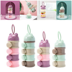 Layered Milk Powder Box Baby Side Opening Bear Shaped Container With Lanyard