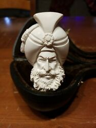 Vintage Unsmoked Meerschaum Pipe Sultan With Turban Beard AWESOME EXPRESSION