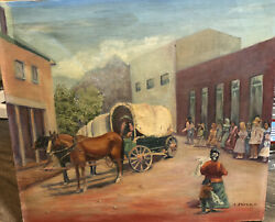 Vintage Old West Stagecoach People Horses Southwest Oil Painting Signed L Swann
