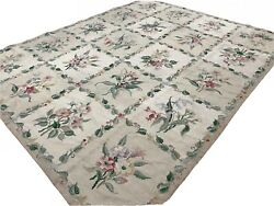 Handmade Vintage Authentic French Aubusson Tapestry Beig Floral Wool Rug 7'x9'2