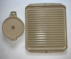 Vintage Littonware Microwave Lot Of 2 Bowl 39278 W/lid 39277 Bacon Tray 39437