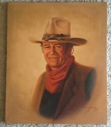 Vintage John Wayne Cowboy Oil Painting On Canvas By Lee Young 24 X 20