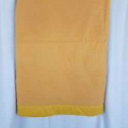 """Vintage Satin Trim Harvest Gold Blanket 72"""" X 88"""" Thermal Acrylic Twin Or Double"""