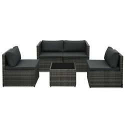 5 Piece Garden Lounge Set With Cushions Poly Rattan Gray__48148us