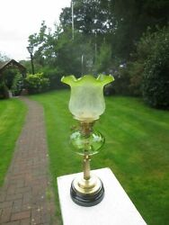 Antique Brass And Green Glass Oil Lamp With Original Tulip Shade And Chimney