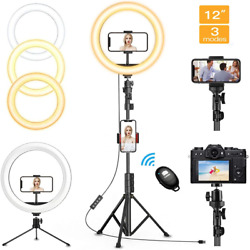 12 Led Selfie Ring Light With Tripod Stand And Phone Holder, 3 Light Modes And 10