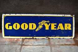 Vintage Goodyear Tire Tyre Sign Board Porcelain Enamel Tire Store Display Rare1