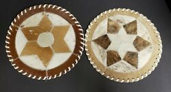 2 Hand Laced Cowhide 12x12 Table Top Western Home Decor Placemats Star