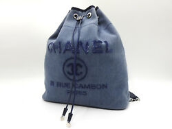 Auth Deauville Backpack Denim Canvas Leather Sequins Silver A93787 V6481