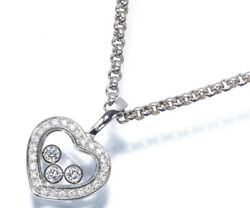 Auth Chopard Happy Diamond Necklace Heart 18k 750 White Gold