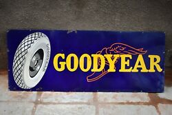 Vintage Goodyear Tire Tyre Sign Board Porcelain Enamel Tire Store Display Rare2