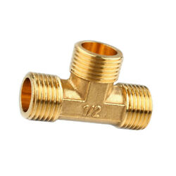 1/2and039and039 // 3 Way Brass Male Tee Fitting Pipe Connector T-junction - Thickened Wall
