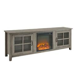 70 Farmhouse Wood Fireplace Tv Stand With Glass Doors - Grey Wash
