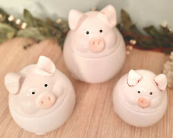 Set 3 Ceramic Floppy Eared Pig Kitchen Canisters Jars Farmyard Collection White