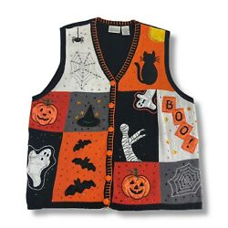Basic Editions Knit Halloween Sweater Vest Womenand039s Size 3x Embroidered Cat Witch