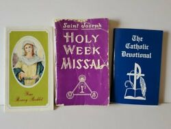 Vintage Religious Mini Book Lot St Joseph Holy Week Missal Your Rosary Booklet +