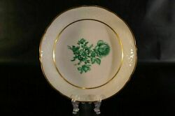 Bavaria Schumann Us Zone Germany Green Flower Rose Soup Bowl Plate Set Of 7